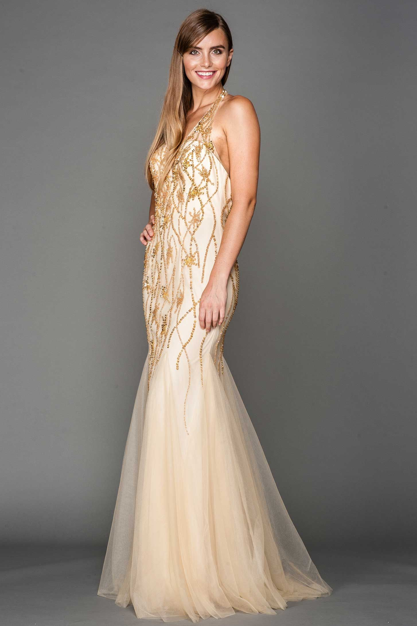 Formal gown ac full length mermaid silhouette prom gown has