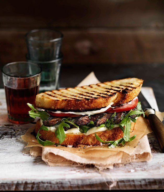 Garlicky portobello mushroom sandwich recipe | Gourmet Traveller WINE - Gourmet Traveller
