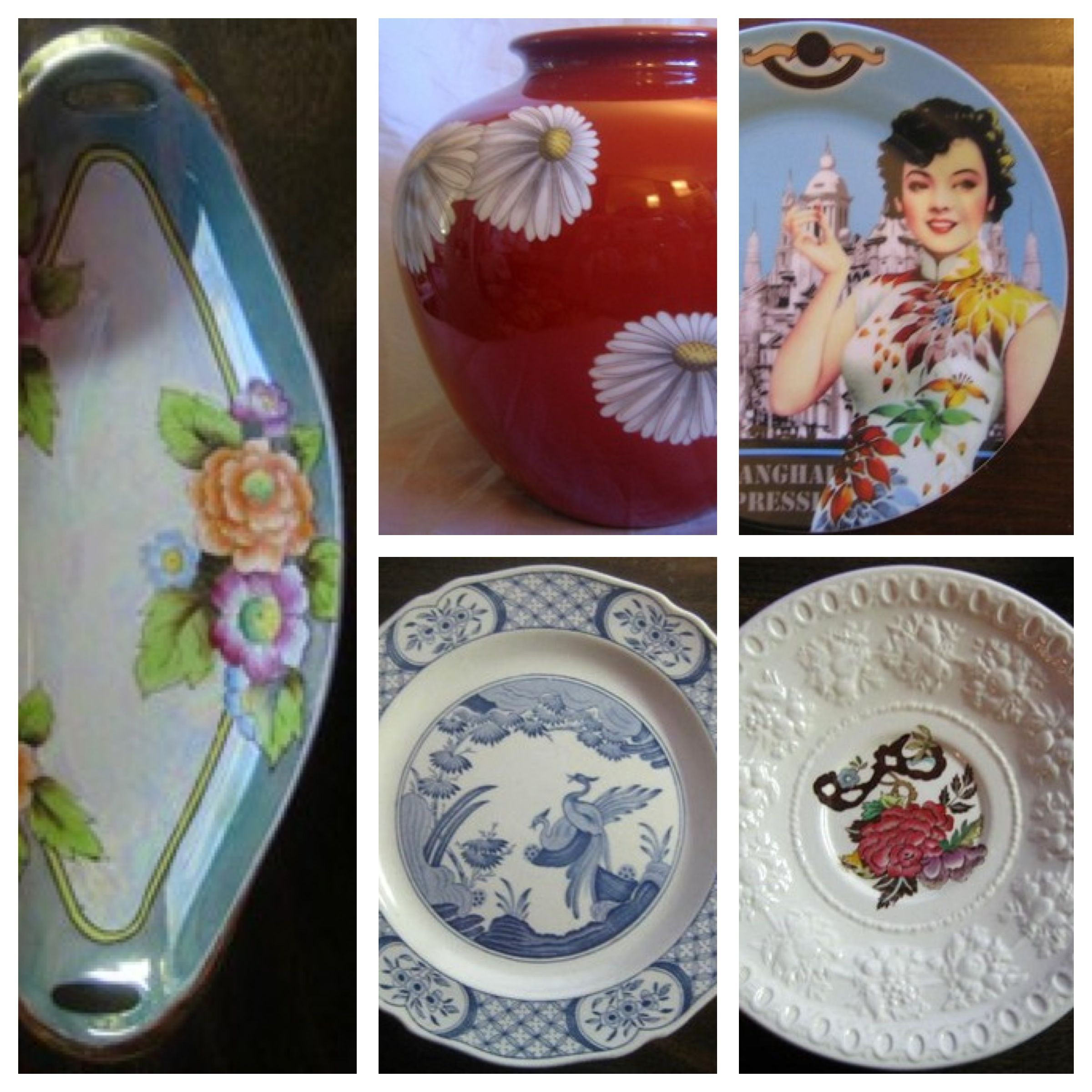 A collage of asian motifs on decorative dishes.