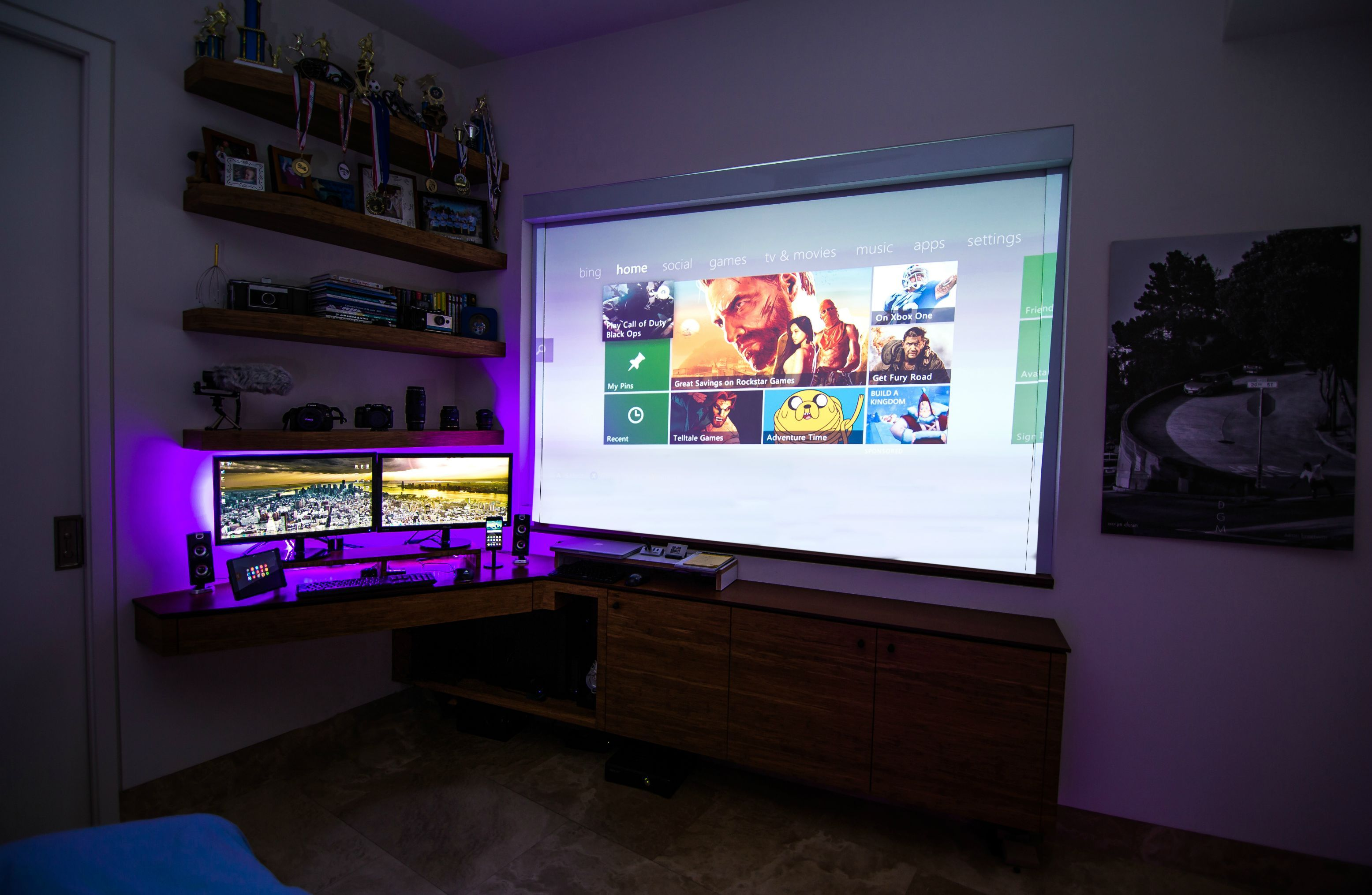 Nature custom dual monitor setup projector monitor How to make a gaming setup in your room