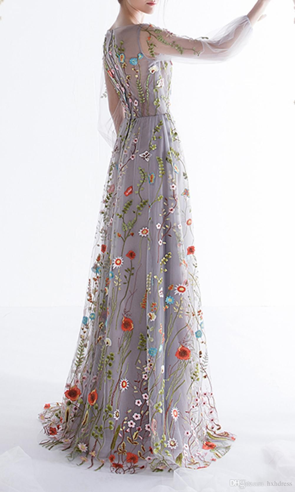 New Womens Long Sleeves Prom Dresses Trendy Floral Embroidery A Line Evening Dresses Formal Party Gowns Pageant Dress Vestios De Novia From Hxhdress 99 19 D Prom Dresses Long With Sleeves [ 1667 x 1001 Pixel ]