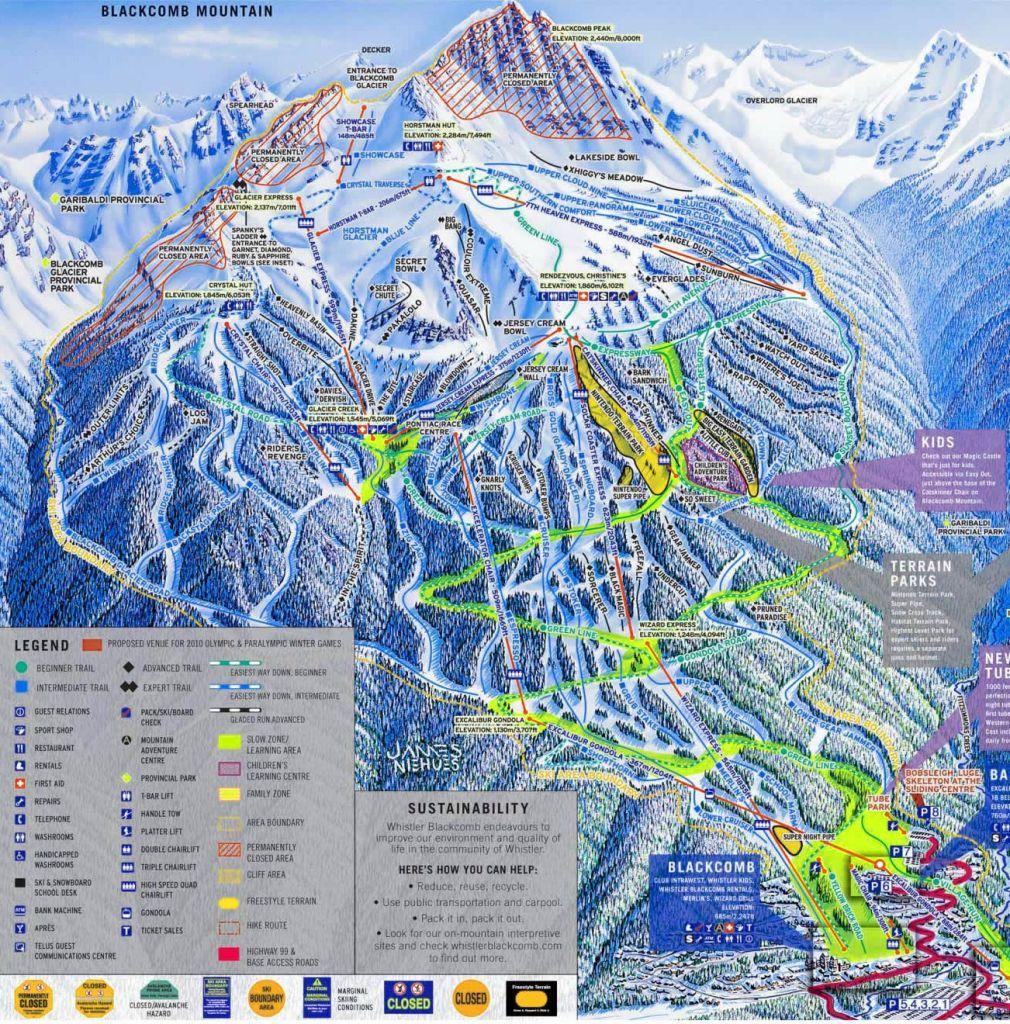 Trail Map Of Blackcomb Mountain Whistler British Columbia