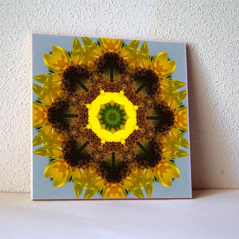 Sunflower mandala ceramic tile, floral trivet, cottage garden flower ...