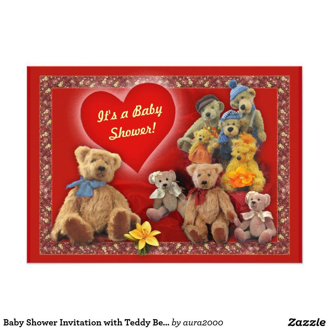Cute Teddy Bear Baby Shower Classic Round Sticker - A cute teddy ...