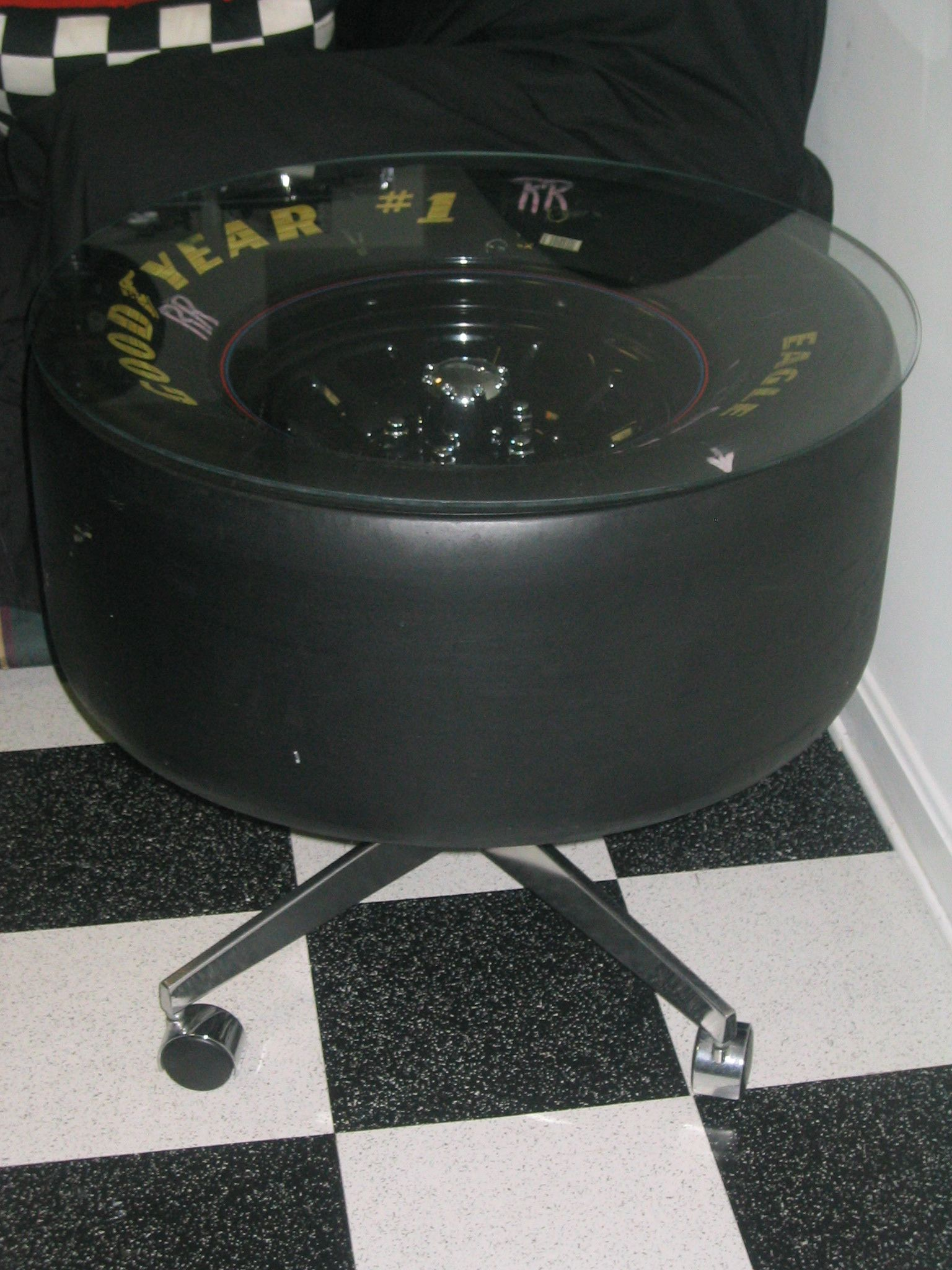 my nascar tire table i made from an old office chair a spindle