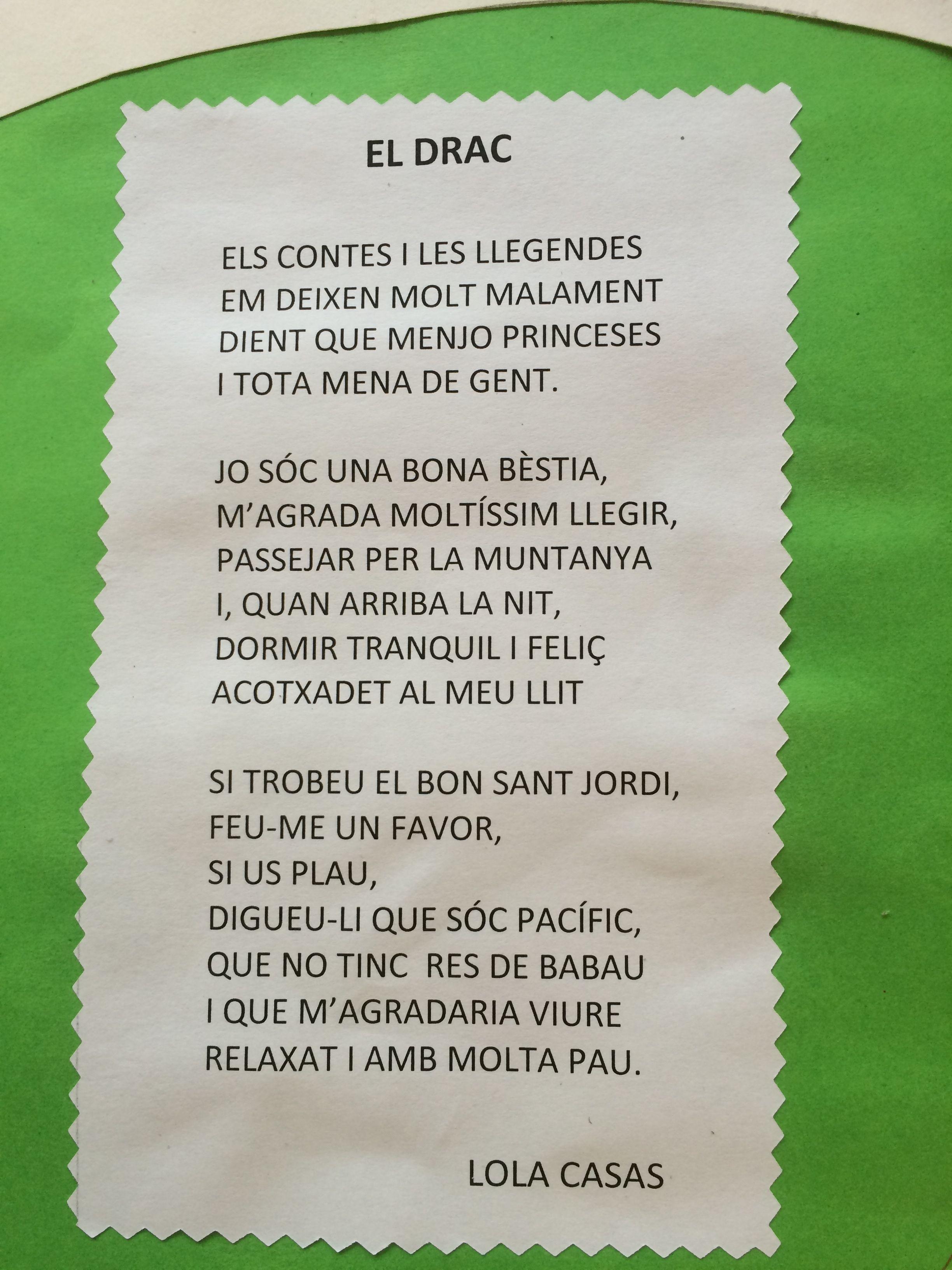 poema lola casas Jordi, Punt de llibre
