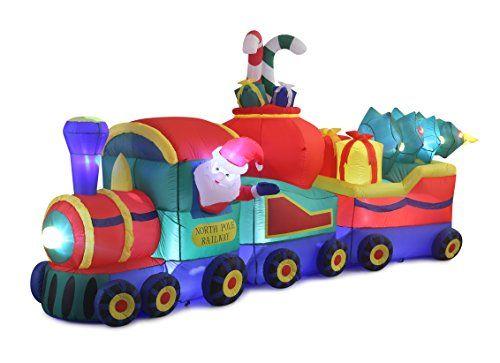 12ft inflatable santa in christmas train indoor outdoor c
