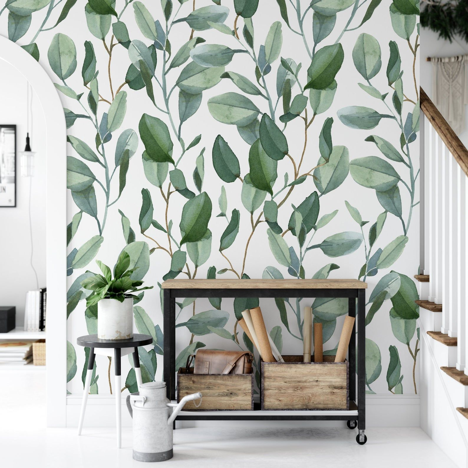 Eucalyptus Leaves Removable Wallpaper Palm Peel And Stick Etsy Removable Wallpaper Room Decor Accent Wall Bedroom