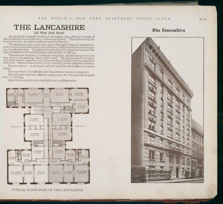 The Lancashire 353 West 85th Street Vintage House Plans Apartment Floor Plans Hotel Plan