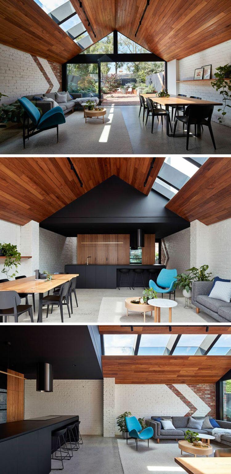 Offenes Wohnkonzept mit Wohnbereich, Küche und Bad ...