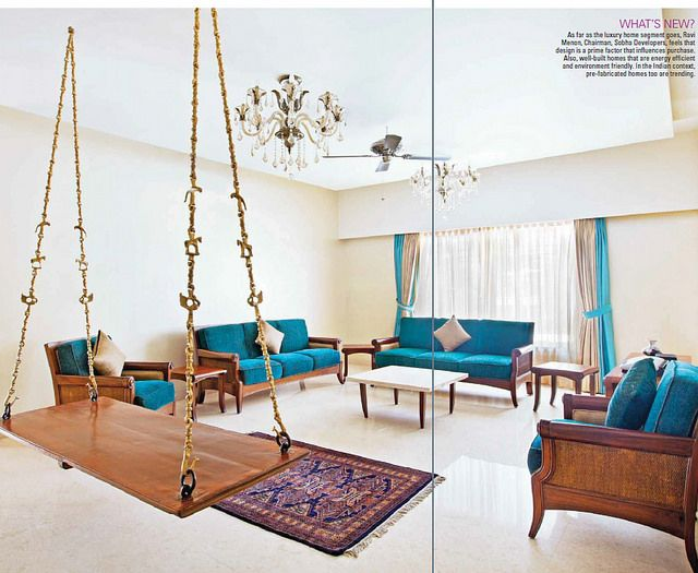 Wooden Swing (oonjal) With Brass Chains , Blue And Golden Sofa
