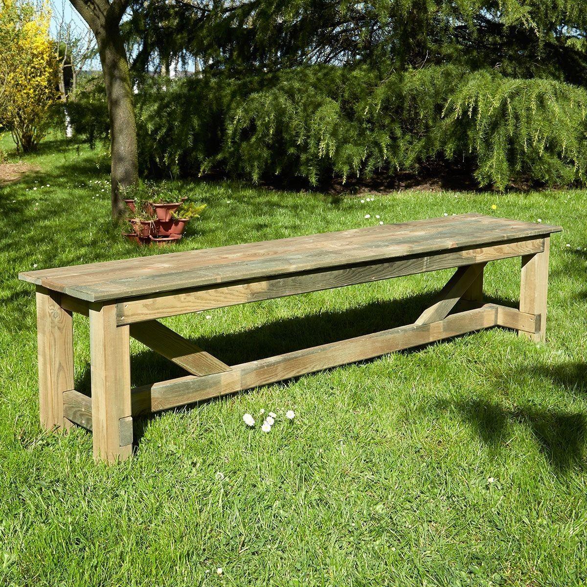 Salon de jardin en bois traité 2 bancs et 1 table rectangulaire ...