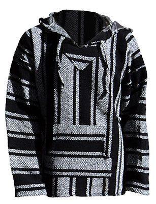 b565e875b Baja Hoodie Surfer Mexican Poncho Pullover * FREE SHIPPING * Black&White  SMALL