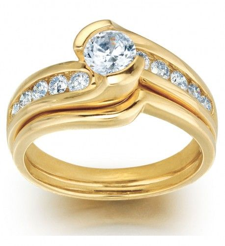 1 Carat Swirl Diamond Wedding Ring Set in 14k yellow gold Wedding