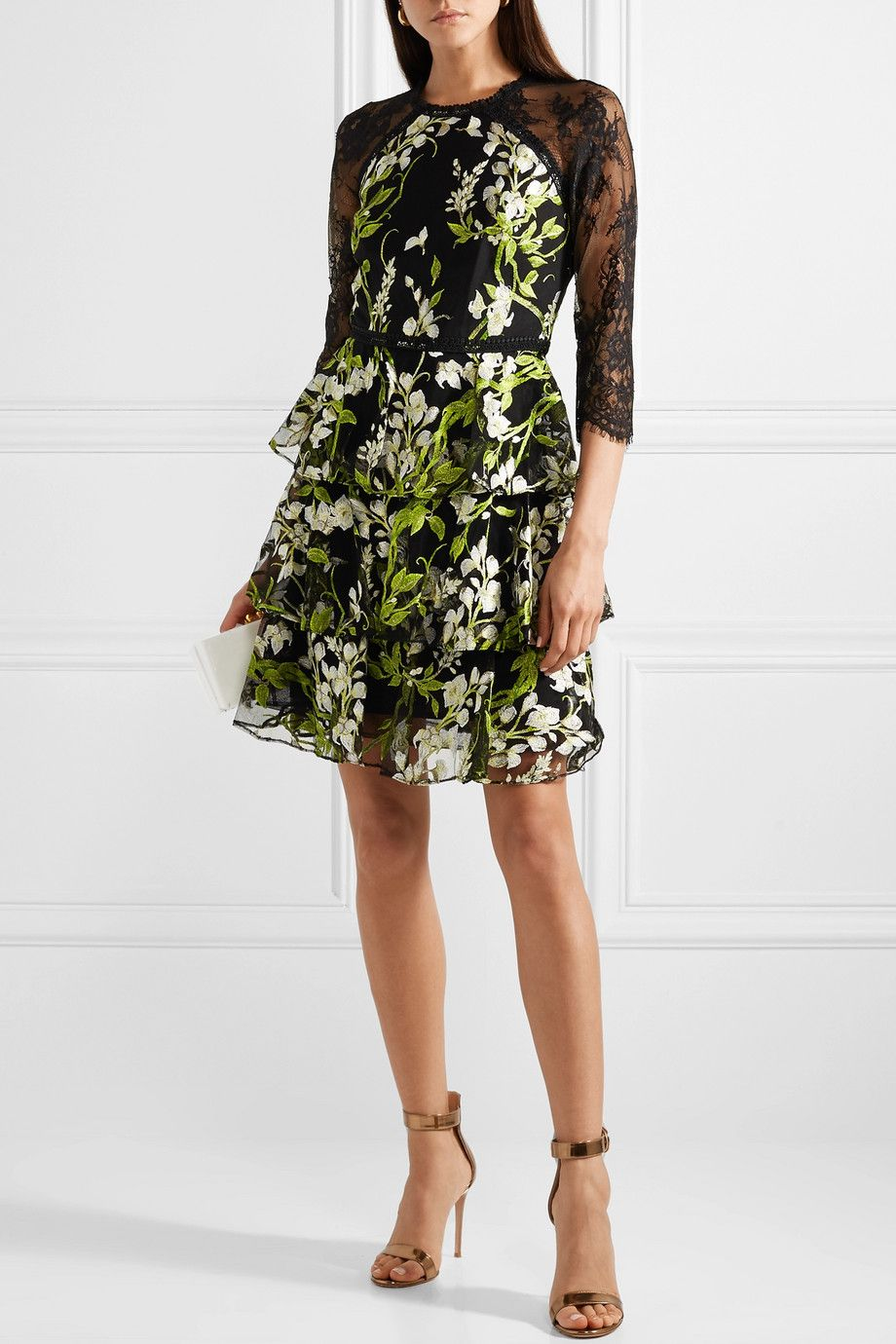 1c1a0aed Marchesa Notte   Tiered embroidered tulle and lace mini dress    NET-A-PORTER.COM
