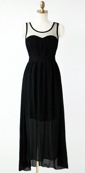 Cutout Back Mesh Maxi Dress - Black - No Stretch And Partially Lined