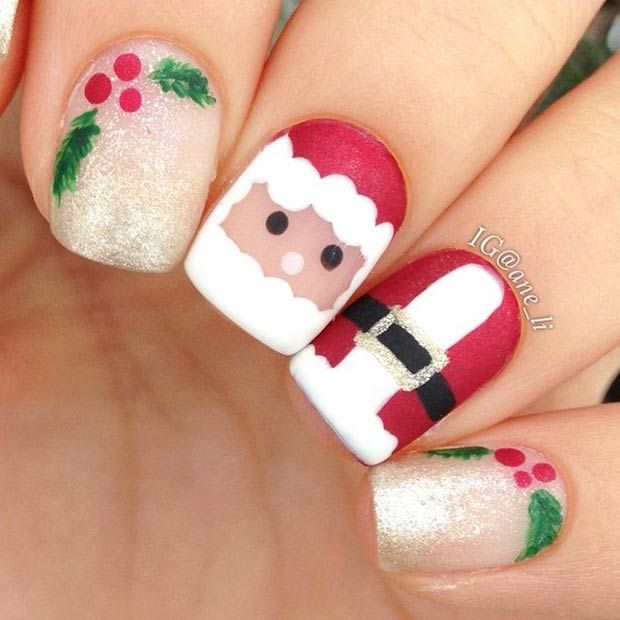 Cute Santa Claus Nails #Christmas #Holidays - 51 Christmas Nail Art Designs & Ideas For 2018 StayGlam Beauty
