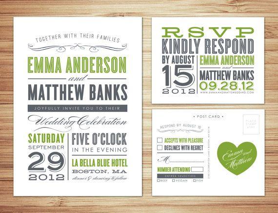 Wedding Invitations #invites #green #gray