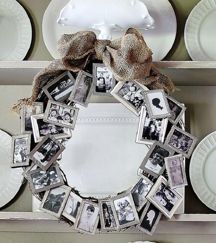 Que tal uma guirlanda com as fotos da família?