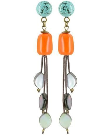 Nature Bijoux Earrings in Turquoise, Amber and Mother of Pearl