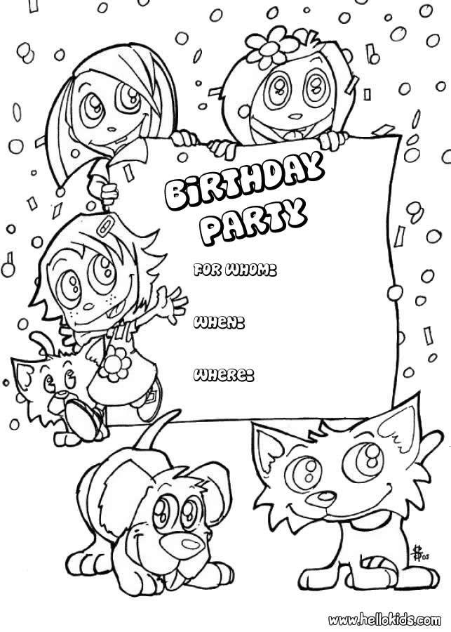 Resultado de imagen para coloring invitation card birthday
