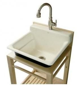 KOHLER K 6608 1P 0 Bayview Wood Stand Utility Sink
