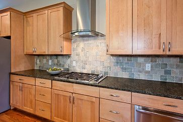 fascinating kitchen cabinet backsplash red | Interesting backsplash and counters with the maple ...