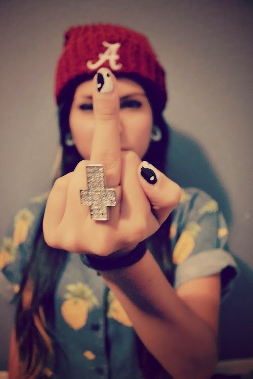 Girl Giving Middle Finger