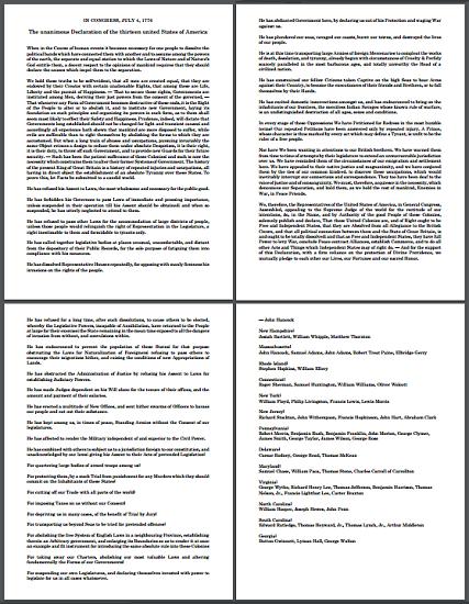Declaration of independence worksheet pdf
