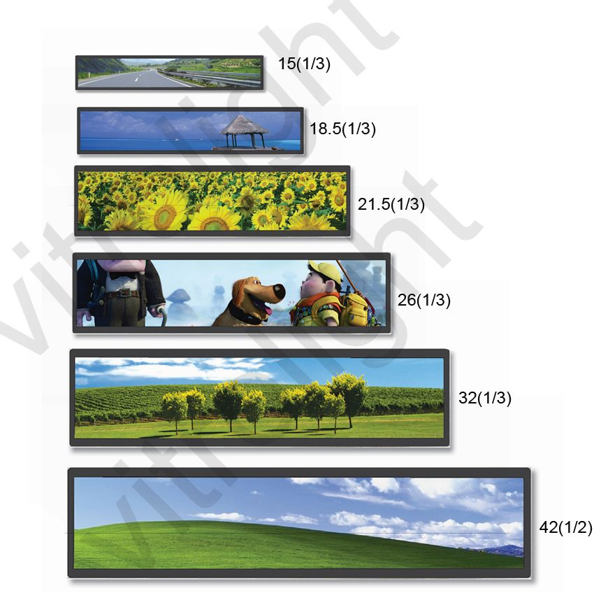 TFT-LCD stretched bar lcd display for advertising on bus