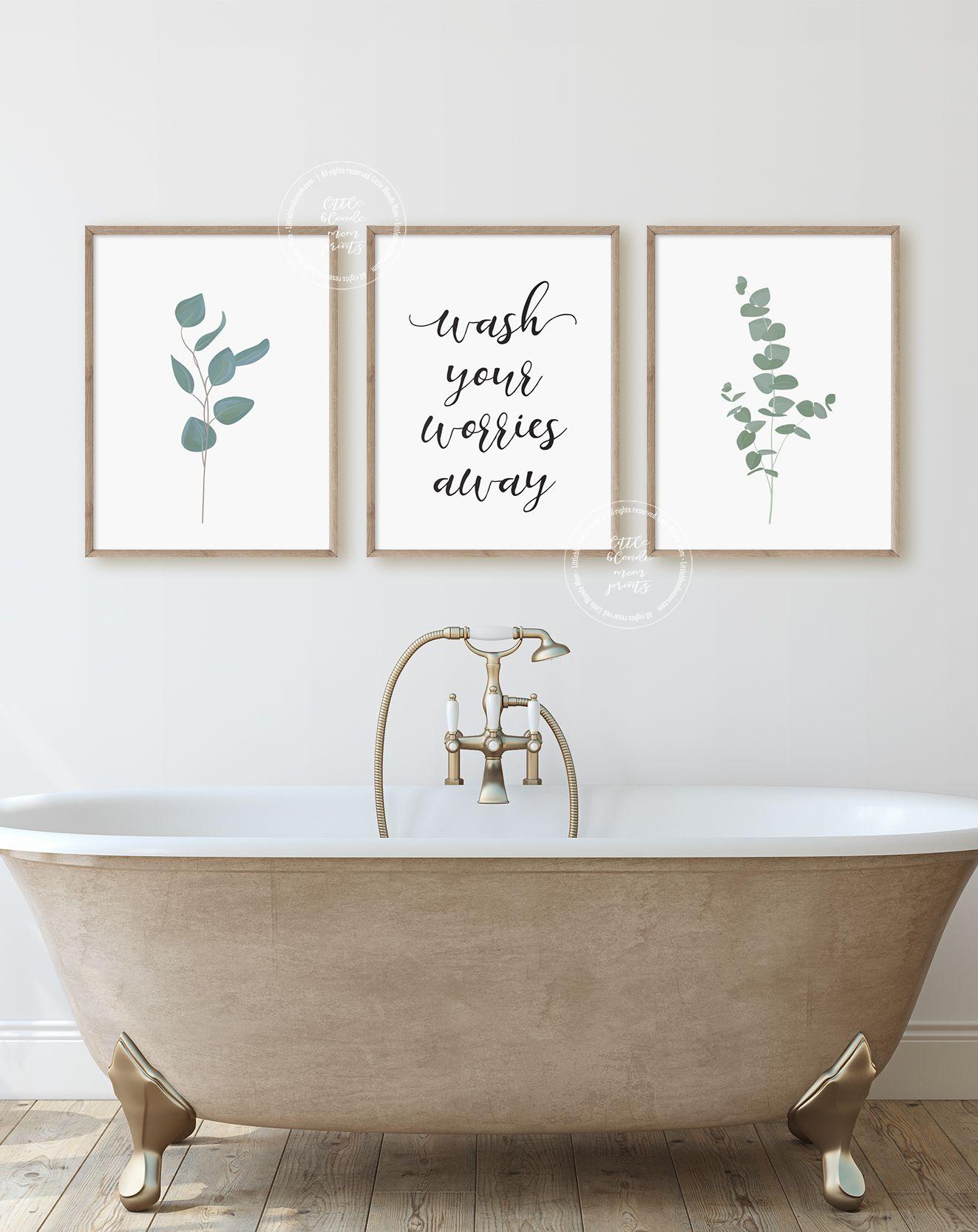 Bathroom Wall Decor Poster Prints Set Of 3 Wall Art Etsy In 2020 Bathroom Wall Mural Bathroom Wall Decor Farmhouse Wall Art