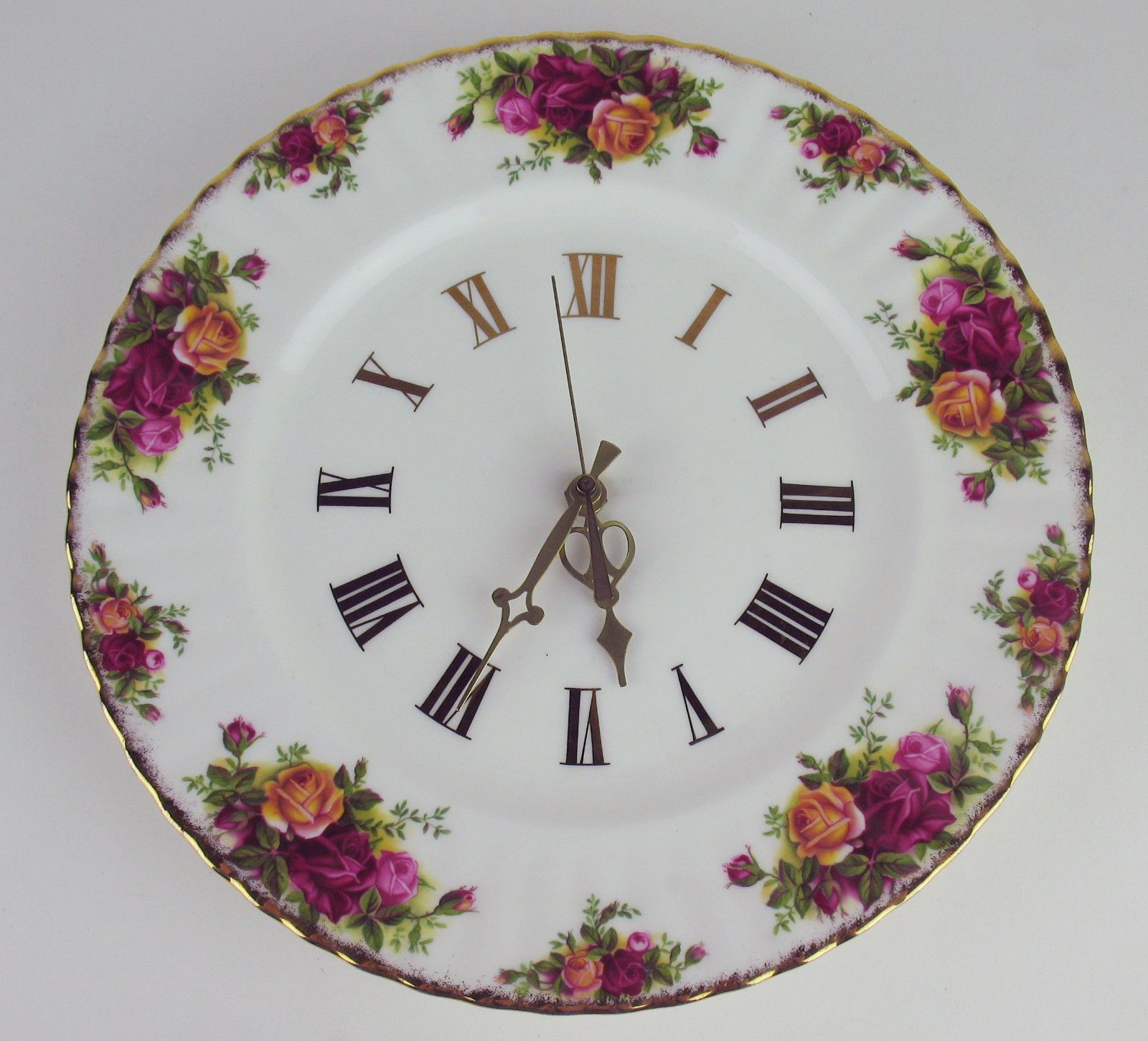 Wall Plate Clock Royal Albert Old Country Roses Ebay