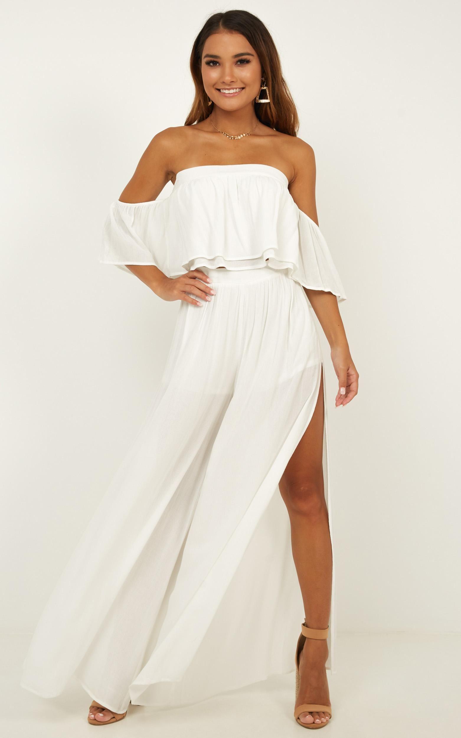 Daring Day Two Piece Set In White Linen Look Showpo Women Dress Online Two Piece Dress Shopping Womens Dresses [ 2500 x 1562 Pixel ]
