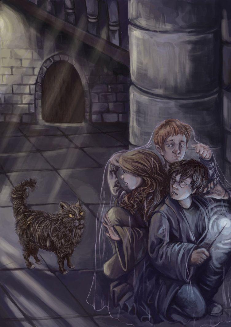 Avoiding Mrs Norris By Hogwartshorror Harry Potter Images Harry Potter Illustrations Harry Potter Pictures