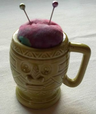 Pin Cushion Ceramic Green Tea Cup Totem Pole Design Pink Material Sewing Notion