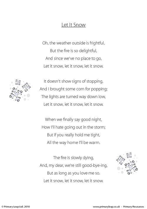 PrimaryLeapuk - Let It Snow Worksheet Christmas Printable