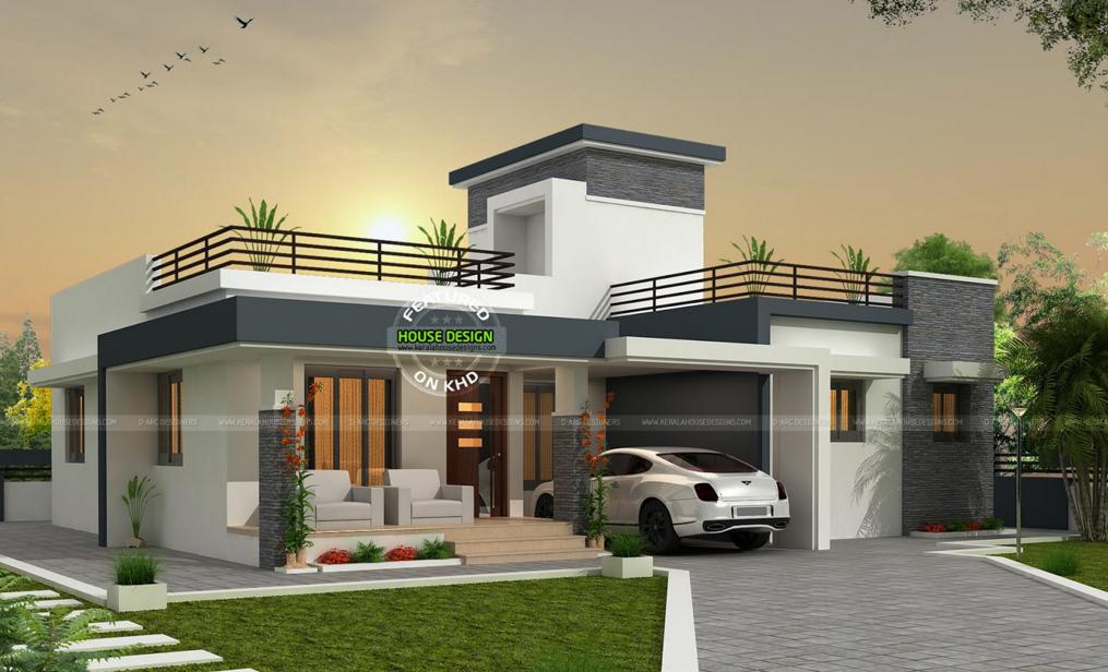 3 Bhk Contemporary Box Type Home Kerala House Design Bungalow House Design Box House Design