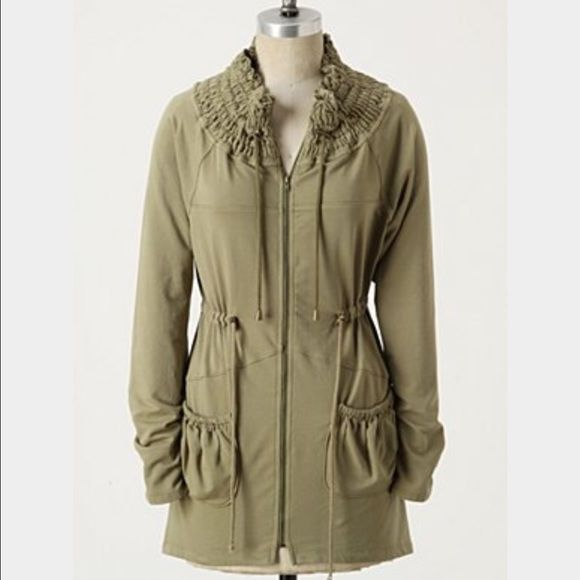 190f8bb53e74 Anthropologie iris  amp  navy olive green anorak Anthro olive green utility  style zip up.