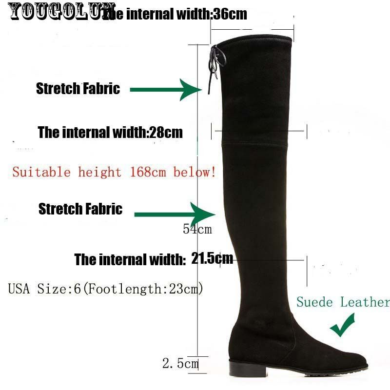 YOUGOLUN Winter Women Stretch Boots Over The knee Boots Sexy Thigh High LOWLAND Black Gray Boot Fashion Woman High Boots Shoes
