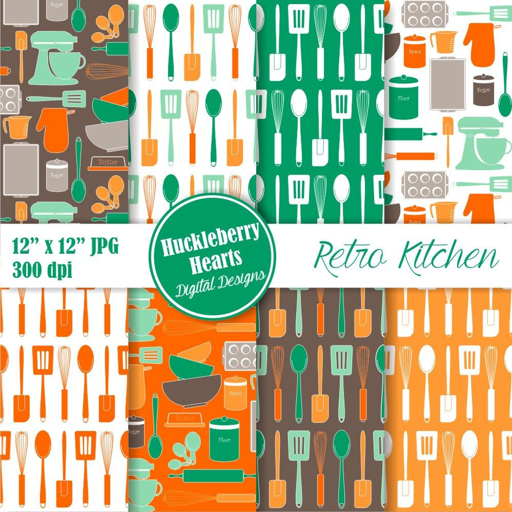 Retro Kitchen Baking Digital Paper, Kitchen Scrapbook Paper, Digital ...