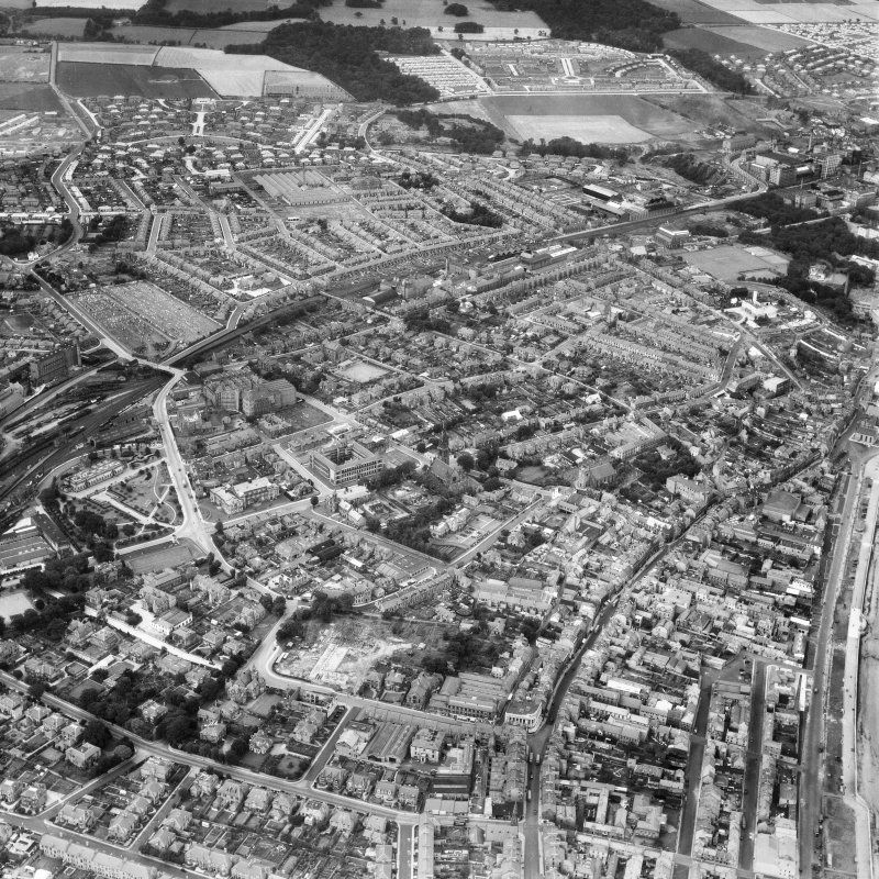 Kirkcaldy General View Showing Bennochy Cemetery And High Street Oblique Aerial Photograph Taken