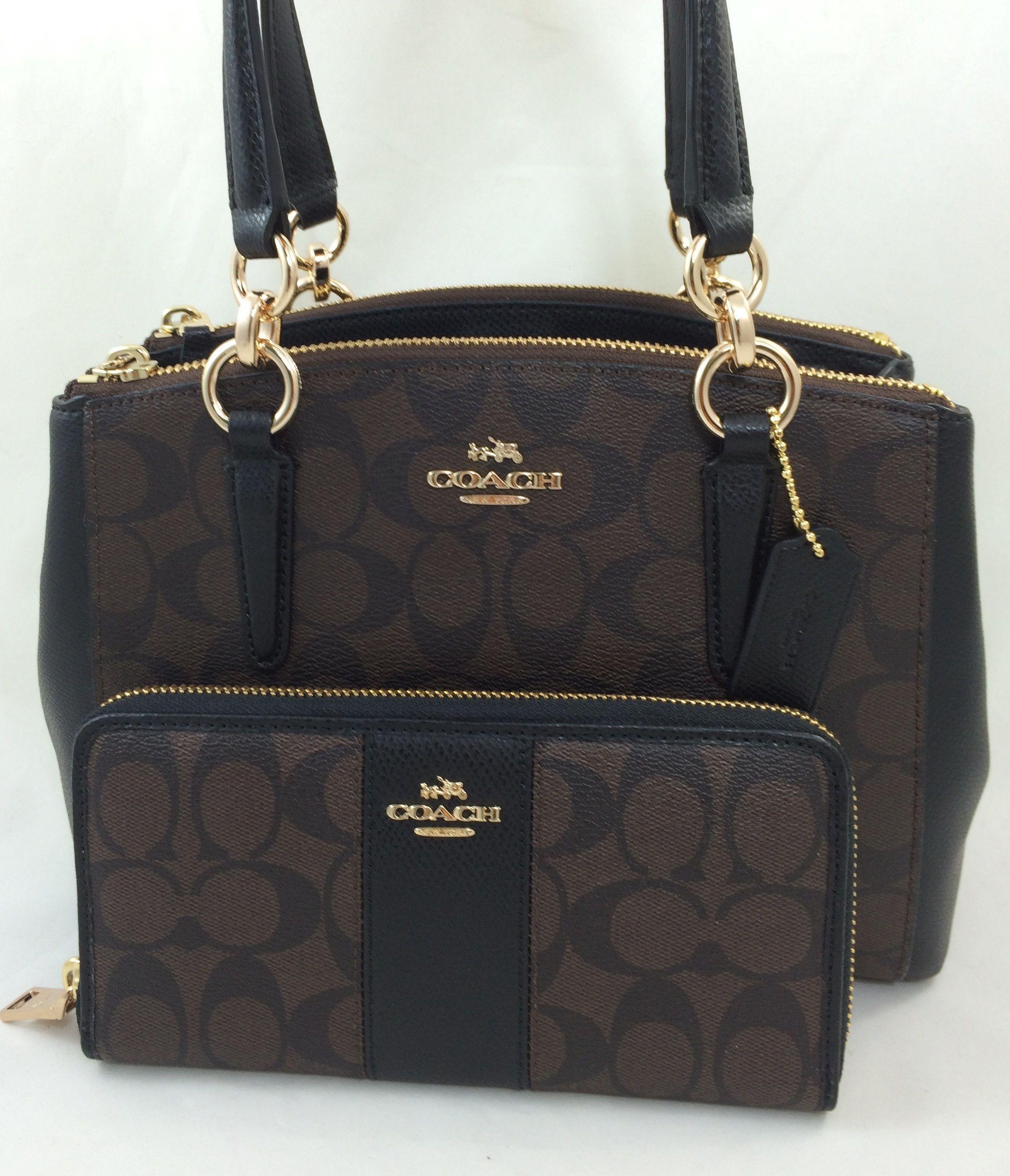 89d7cacac2 New Authentic Coach F58290 Mini Christie Carryall Satchel Handbag Purse Bag  PVC Brown Black +Wallet Set