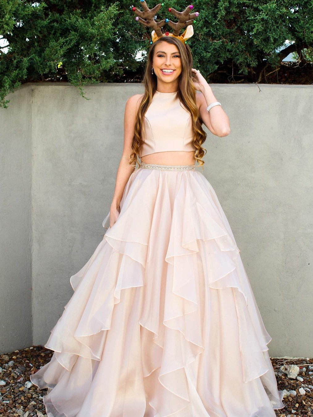 Two Piece Prom Dresses Aline Scoop Floorlength Long Sparkly Chic