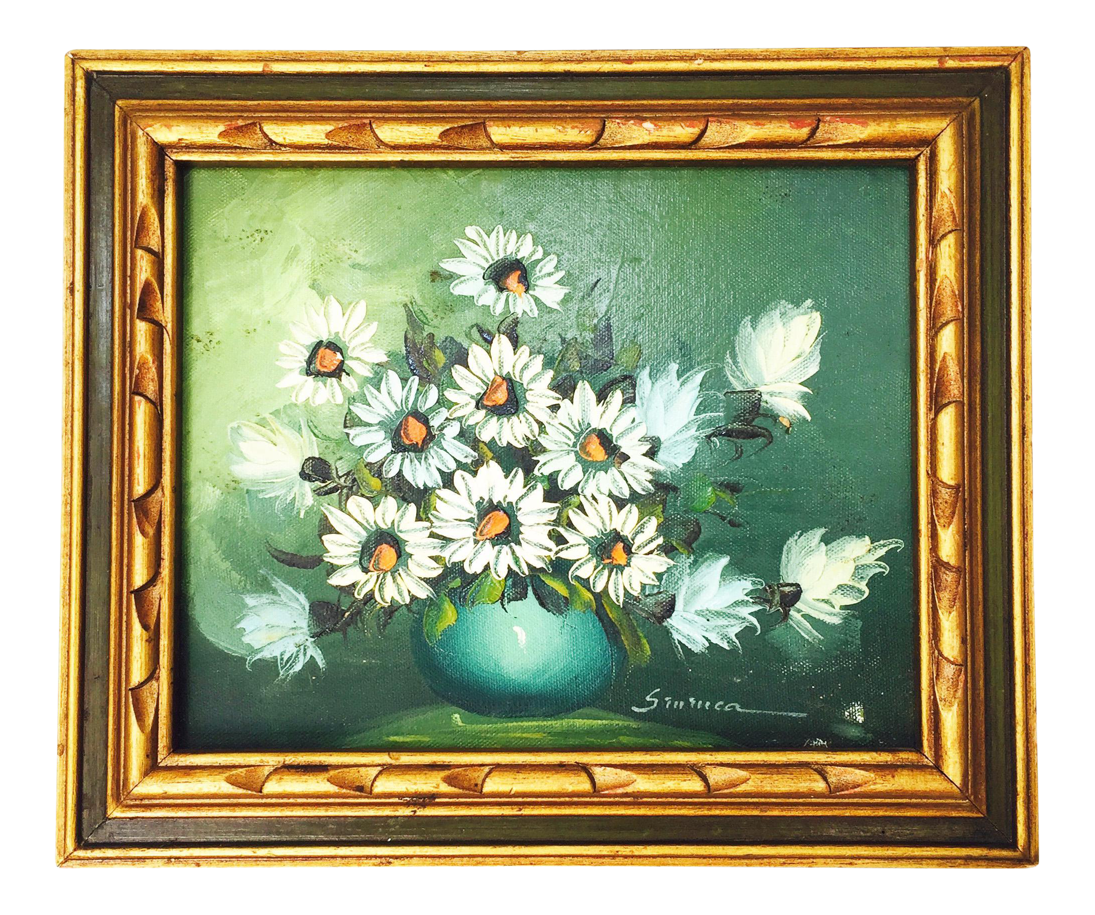 An original vintage oil painting of a sweet floral arrangement in a hand carved wood frame. Lovely colors and brushstrokes.