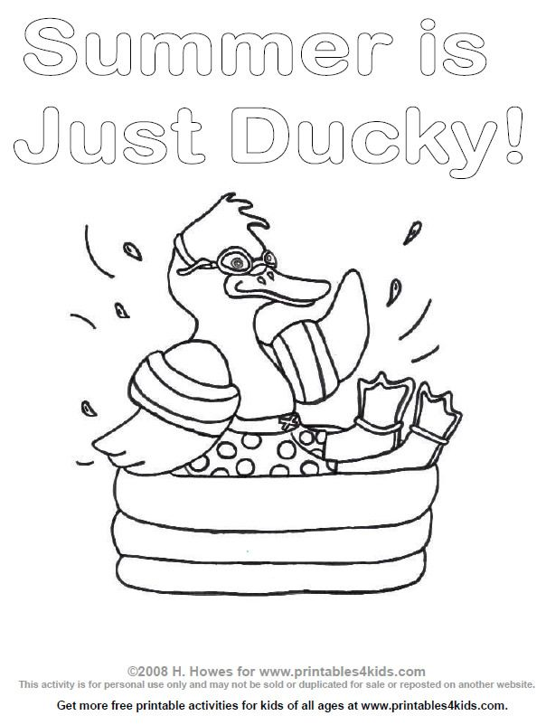 Duck splashing in a swimming pool coloring page | Coloring ...
