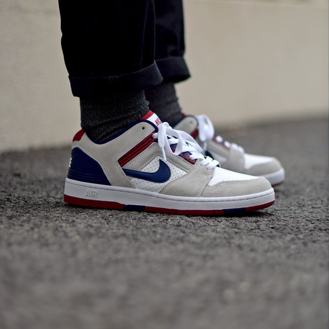 coupon codes latest design 100% top quality Nike SB Air Force 2 Low - White/Blue/Red Available: SNKRS ...