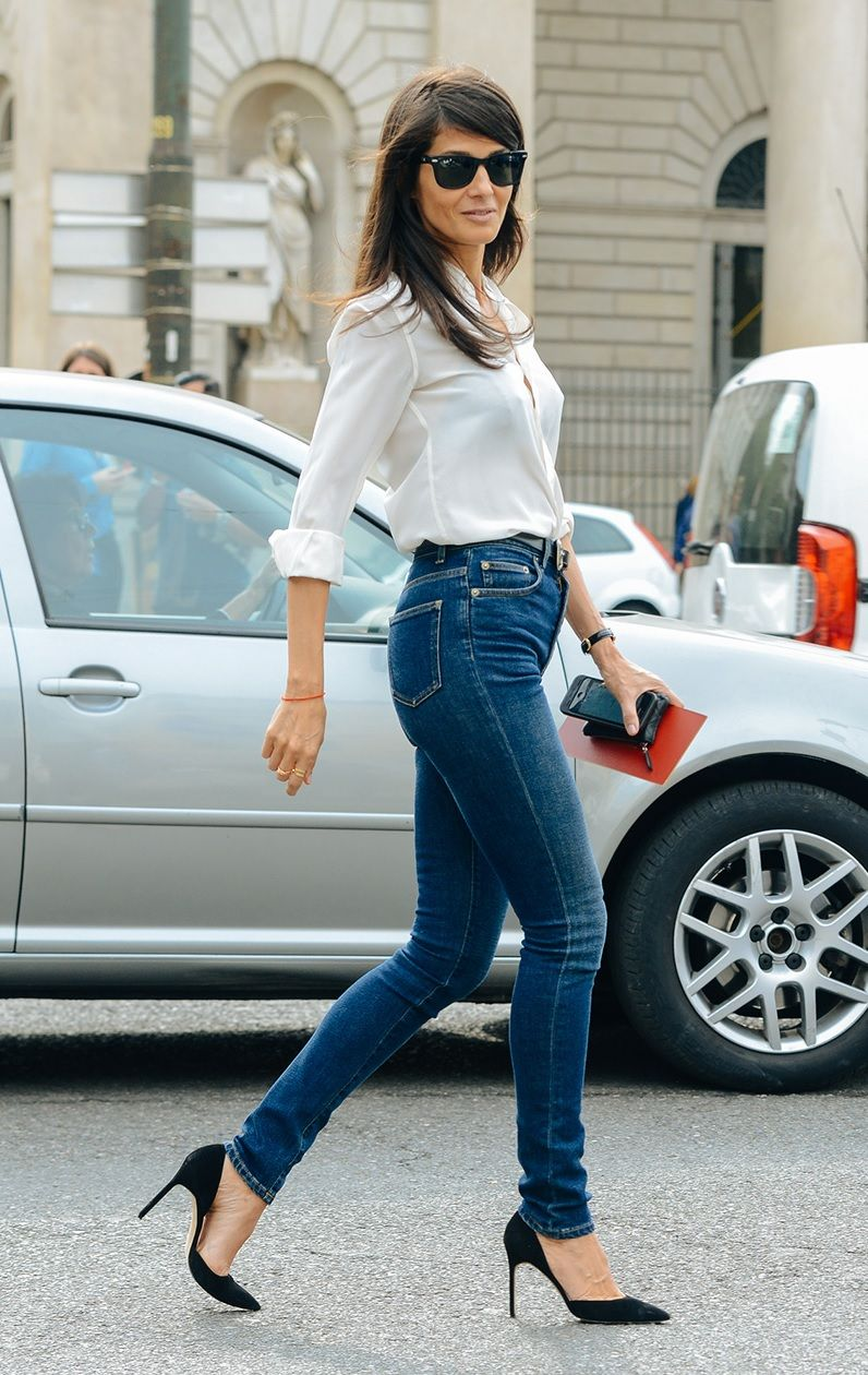 723fa71be28 Barbara Martelo in Saint Laurent High Waisted Skinny Jeans in Medium Blue