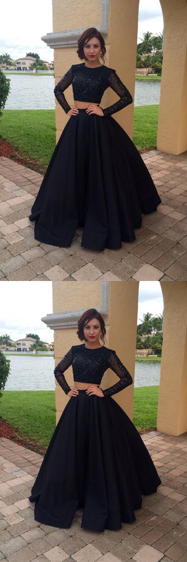 Prom dresses with sleeveslong prom dressestwo pieces prom dresses