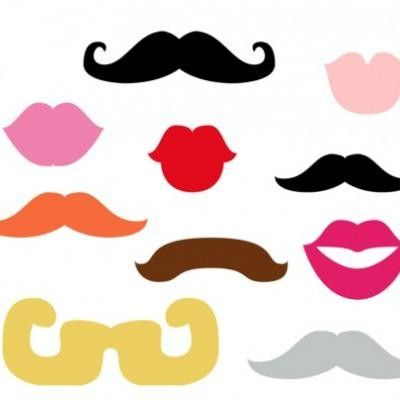 Ambitious image within printable mustache and lips