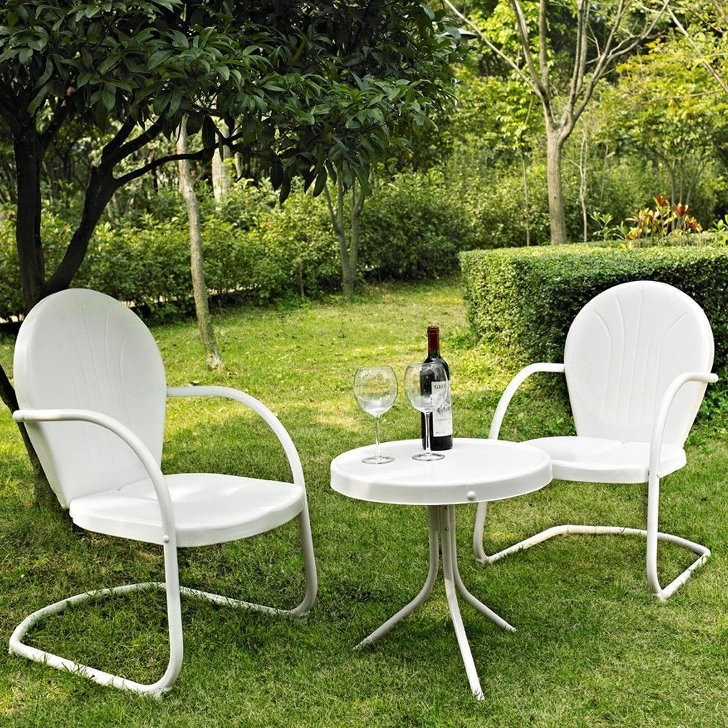 White 3 Piece Outdoor Patio Furniture Seating Group With Table U0026 2 Chairs